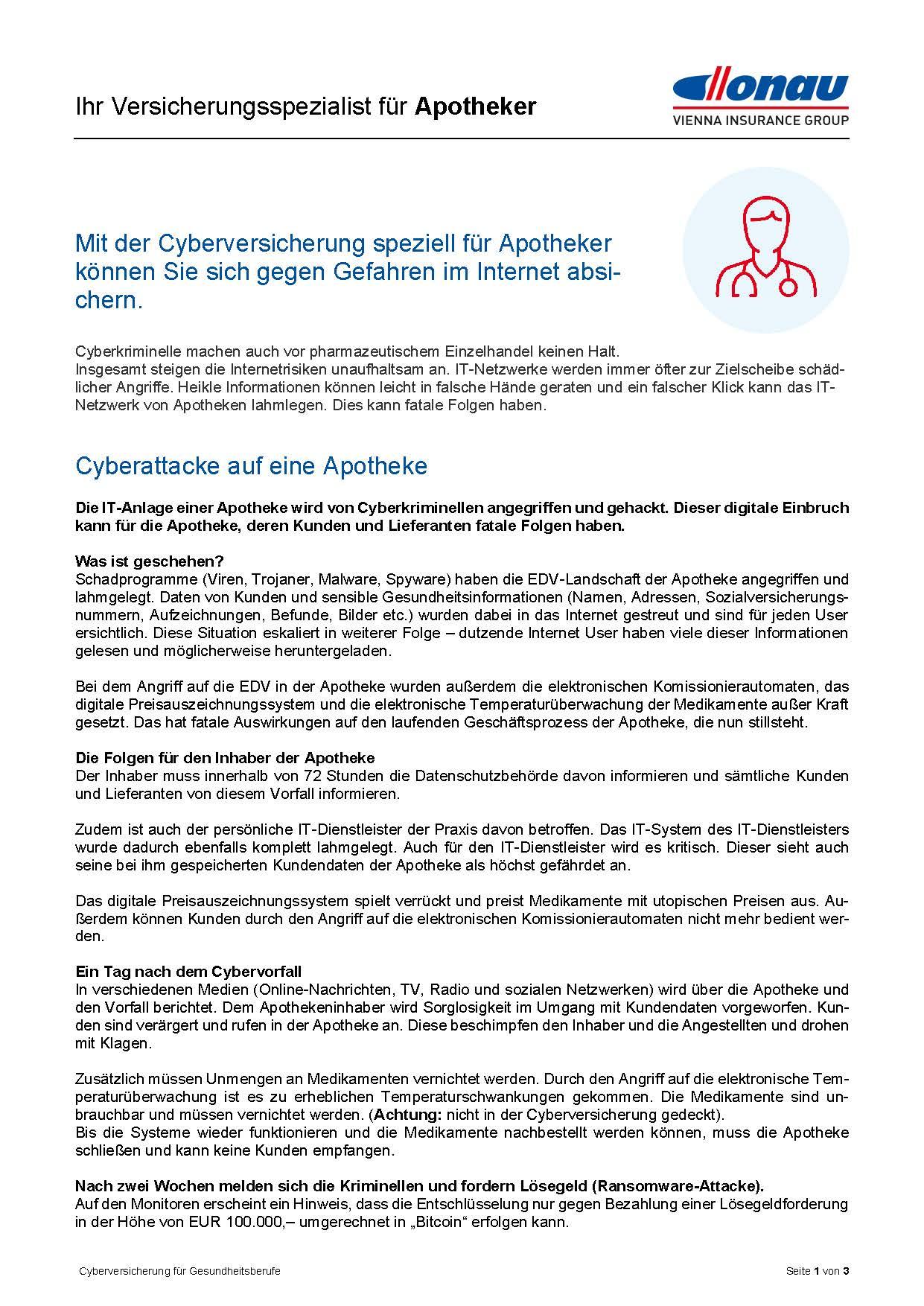 Cyberversicherung für Apotheken Infofolder 2021 1