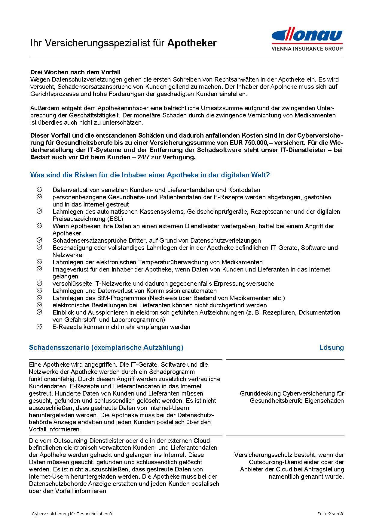 Cyberversicherung für Apotheken Infofolder 2021 2