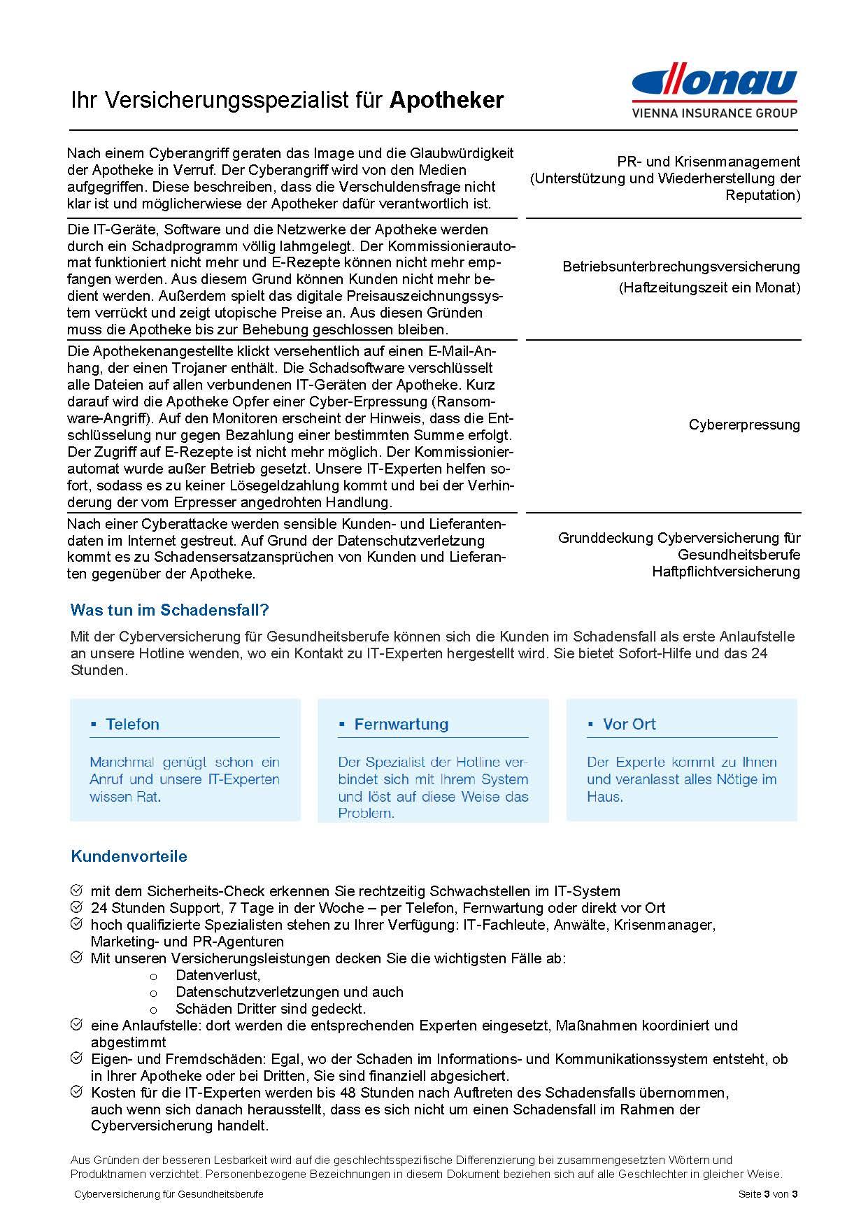 Cyberversicherung für Apotheken Infofolder 2021 3